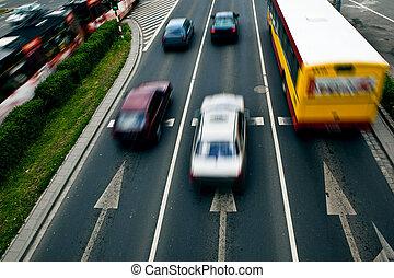 indítvány, autók, wroclaw, utca, elhomályosít