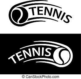 indítvány, egyenes, tenisz, jelkép, labda