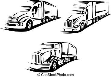 indítvány, körvonalazott, teherautók, amerikai