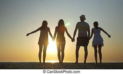 indítvány, lassú, barátok, négy, ugrás, naplemente tengerpart