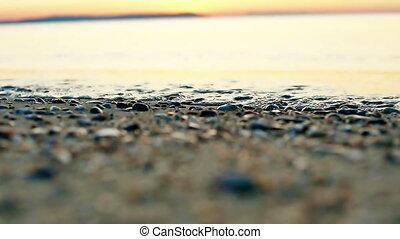 indítvány, lenget, lassú, tengerpart ringat