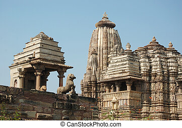indù, khajuraho, posto, sacro, famoso, india, tempie
