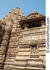 indù, khajuraho, posto, sacro, india, famoso, tempie
