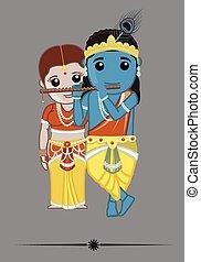 indù, -, radha, dii, krishna