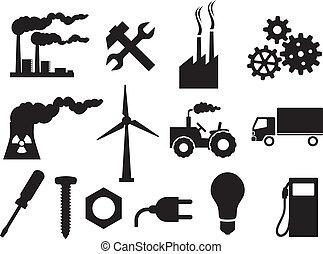 indústria, ícones, cobrança