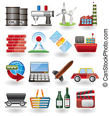 indústria, ícones negócio