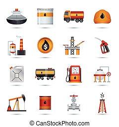 indústria, óleo, ícones