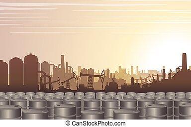 indústria óleo, backdrop., vetorial, desenho