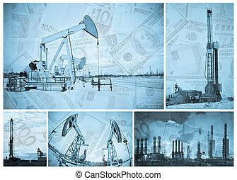 indústria, óleo, dinheiro.