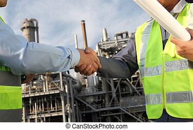 indústria, óleo, dois, engenheiro