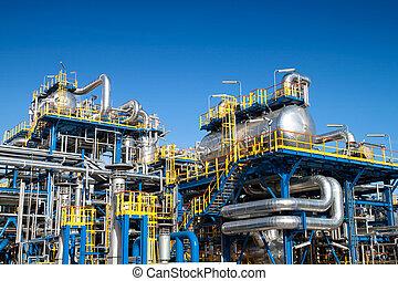 indústria óleo, instalação equipamento