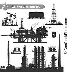 indústria, óleo, jogo