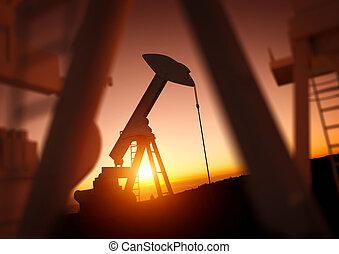 indústria, óleo, poder