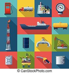 indústria, óleo, quadrado, jogo, ícone