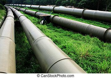 indústria, ao ar livre, gás, dia, óleo