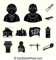 indústria, cobrança, fita, desenho, sinal, arquitetura, jogo, ferramentas, símbolo, levantamento, predios, projeto, arquiteta, interessante, logotipo, desenhista, máquina, pretas, medida, ícone, desenho, monumento, lápis, vetorial, ilustração, teia, proposta, plano, homem, guindaste, isolado, arte, construtor, equipamento, escritório, desenvolvimento