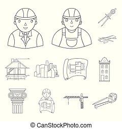 indústria, cobrança, fita, desenho, sinal, arquitetura, jogo, ferramentas, símbolo, levantamento, predios, projeto, arquiteta, interessante, logotipo, desenhista, máquina, medida, ícone, desenho, monumento, lápis, vetorial, esboço, ilustração, teia, proposta, plano, homem, guindaste, isolado, arte, construtor, equipamento, escritório, desenvolvimento