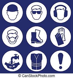 indústria, construção, ícones