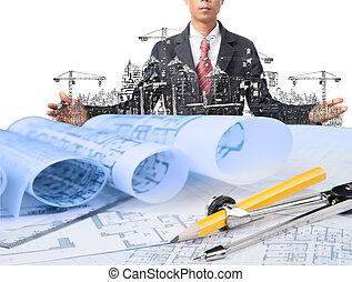 indústria, construção, e, homem negócio