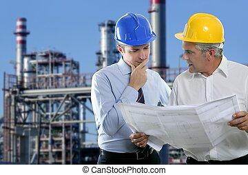 indústria, dois, arquiteta, equipe, perícia, engenheiro