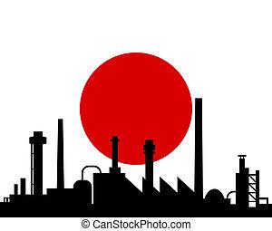 indústria, e, bandeira, de, japão