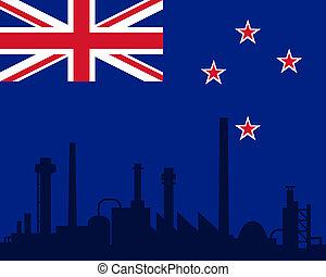 indústria, e, bandeira, de, nova zelândia