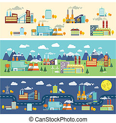 indústria, edifícios, bandeiras horizontais