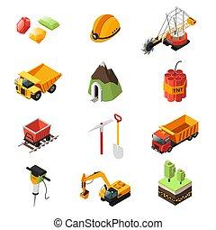 indústria, elementos, jogo, isometric, mineração