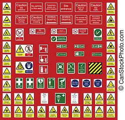 indústria, escritório, sinais
