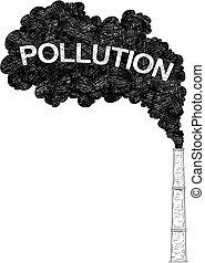 indústria, fábrica, ilustração, ar, vetorial, smokestack,...