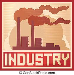 indústria, industrial, -, cartaz, planta