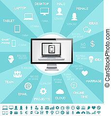 indústria, infographic, aquilo, elementos