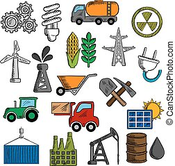 indústria, jogo, energia, ícones