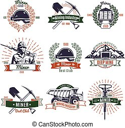 indústria, mineração, jogo, emblemas