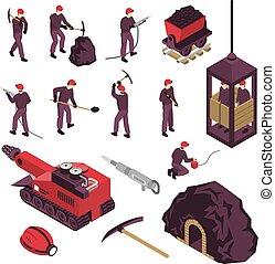 indústria, mineração, jogo, isometric, ícones
