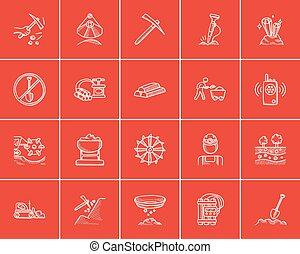 indústria, mineração, set., esboço, ícone