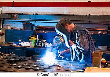 indústria, oficina, metal, soldador