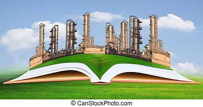 indústria, petrochemical, verde, gra