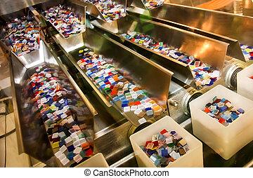 indústria, plásticos, linha, caixas, coloridos