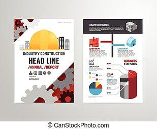 indústria, relatório negócio, propriedade, revista, template., anual, cartaz, size., a4, voador, vetorial, cobertura, desenho, esquema, folheto, livreto