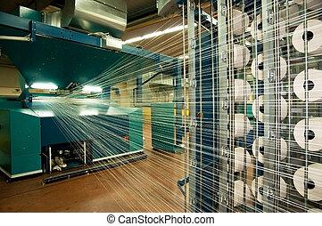indústria têxtil, (denim), -, tecendo, e, urdidura