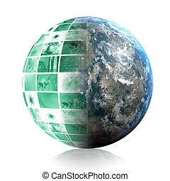 indústria, telecomunicações globais, rede