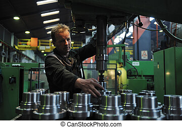 indústria, trabalhadores, pessoas, fábrica