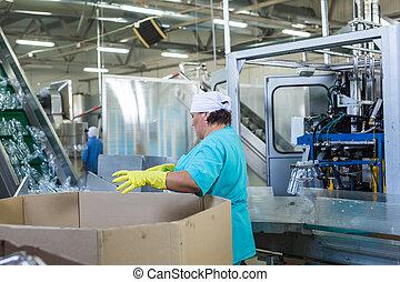 indústria, trabalhando, garrafa