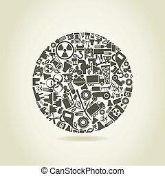indústria, um, esfera
