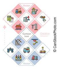 indústria, vetorial, jogo, ícone