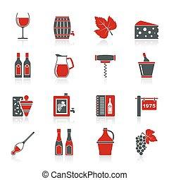 indústria vinho, objetos, ícones