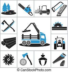 indústria, woodworking, ícones