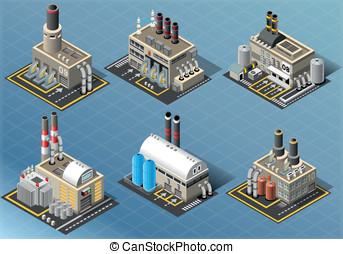 indústrias, isometric, jogo, energia, edifícios