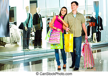 ind, den, shopping købecent
